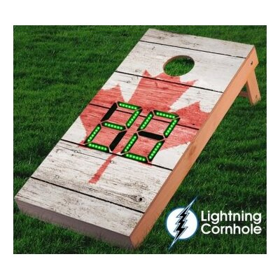 Electronic Scoring Maple Leaf Textured Cornhole Board Color: Green