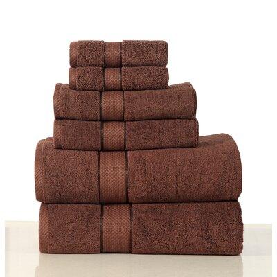 Luxurious 6 Piece Egyptian Quality Cotton Towel Set Color: Chocolate