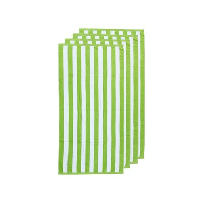 Cabana Egyptian Quality Cotton Beach Towel Color: Lime Green/White
