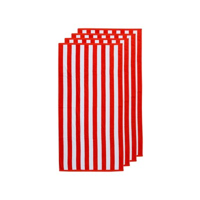Cabana Egyptian Quality Cotton Beach Towel Color: Red/White