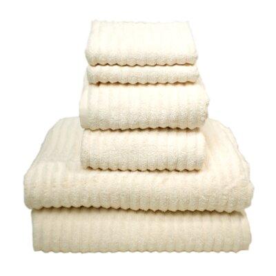 Ribbed 6 Piece Egyptian-Quality Cottontowel Set Color: Ivory