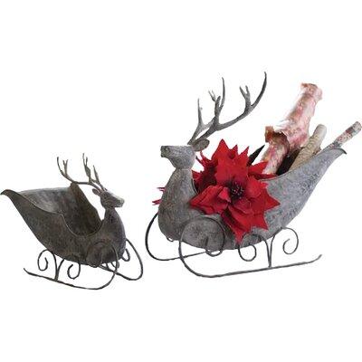 2 Piece Deer Sleigh Set