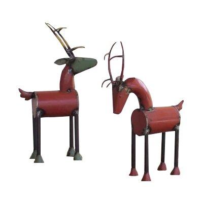 2 Piece Iron Reclaimed Reindeer Set