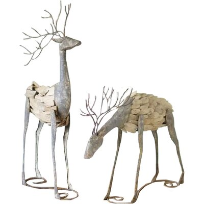2 Piece Metal and Drifod Deer Set