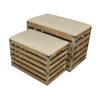 Probst Rectangular Slat Storage 2 Piece Bench Set with Metal Accent and Cushioned Lid