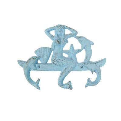 Jarett Mermaid and Dolphin Wall Hook Color: Light Blue