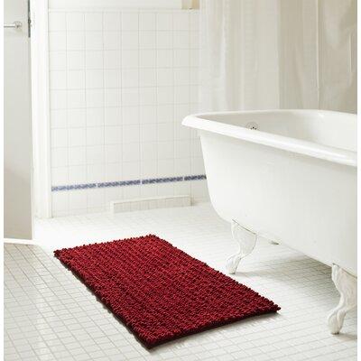 "Diondre High Pile Chenille Bath Rug Size: 24"" W x 17"" L, Color: Burgundy"