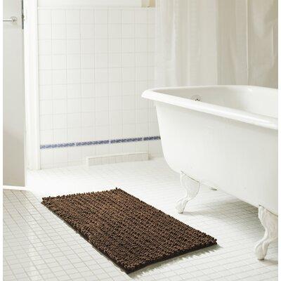 "Diondre High Pile Chenille Bath Rug Size: 24"" W x 17"" L, Color: Chocolate"