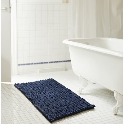"Diondre High Pile Chenille Bath Rug Size: 32"" W x 20"" L, Color: Navy"