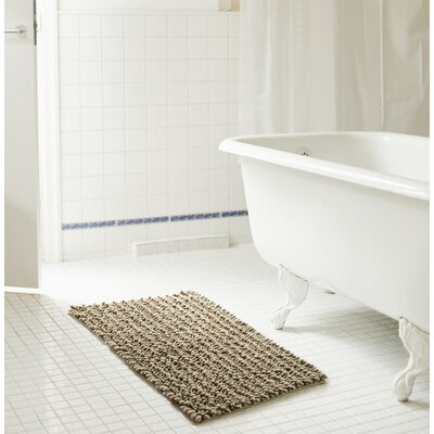 "Diondre High Pile Chenille Bath Rug Size: 32"" W x 20"" L, Color: Taupe"