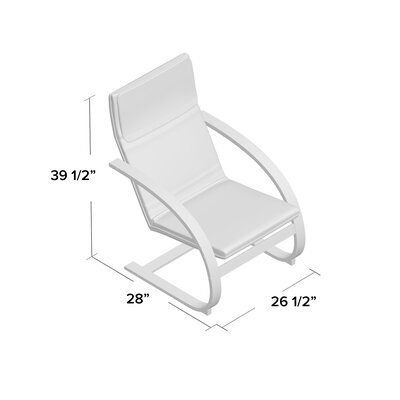 Asellus Rocking Chair Color: Natural, Fabric: Red