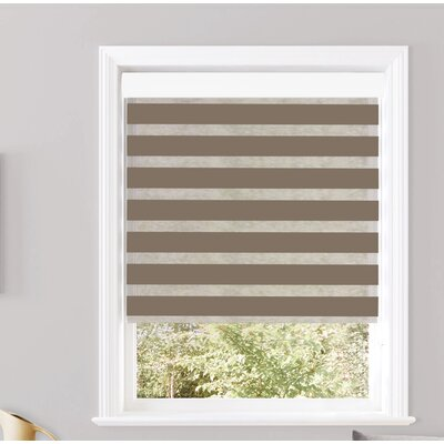 """Pesce Day and Night Semi-Sheer Roller Shade Blind Size: 44""""W x 84""""L, Color: Taupe"""