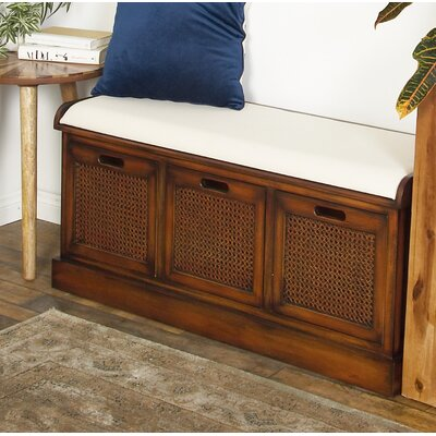 Harrisburg Rustic 3-Drawer Upholstered Storage Bench