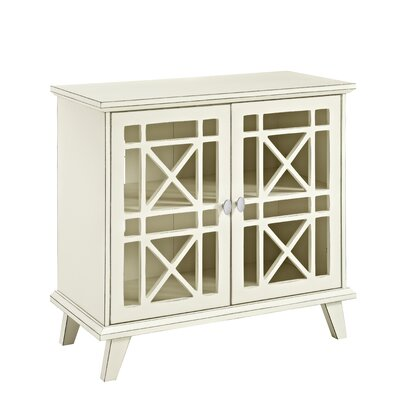 Matheus Fretwork 2 Door Accent Cabinet Color: Antique White