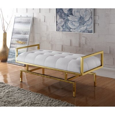 Amare PU leather Tufted Bench Color: White