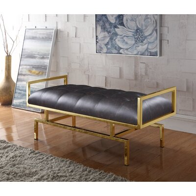 Amare PU leather Tufted Bench Color: Brown