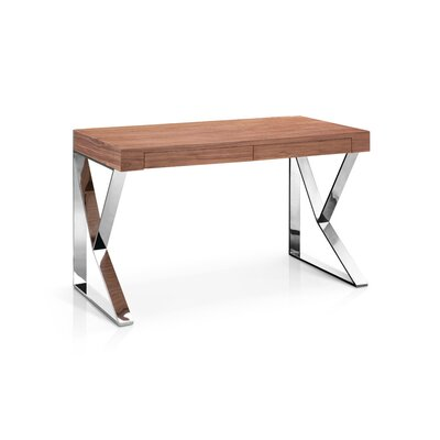 Lorne Writing Desk Top Finish: Walnut, Base Finish: Stainless Steel