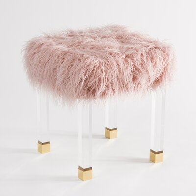 Nilsa Faux Fur Acrylic Accent Stool Color: Pink