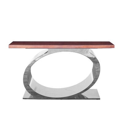 "Linnea Console Table Size: 32"" H x 55"" W x 16"" D, Color: Brown/Silver"