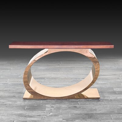 "Linnea Console Table Size: 32"" H x 55"" W x 16"" D, Color: Brown/Rose Gold"