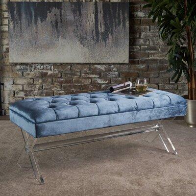 Calixta Upholstered Bench Upholstery: Blue