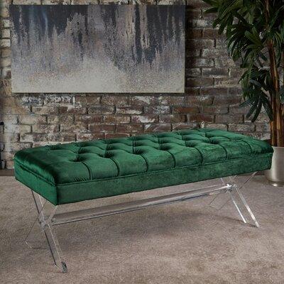Calixta Upholstered Bench Upholstery: Emerald