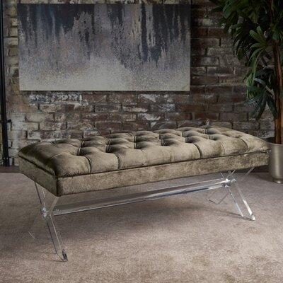 Calixta Upholstered Bench Upholstery: Gray