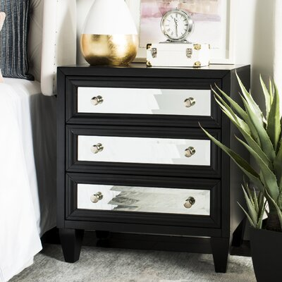 Leandro 3 Drawer Accent Chest Color: Black