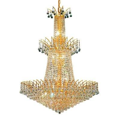 Phyllida 18-Light Crystal Chandelier Finish: Gold, Crystal: Strass Swarovski