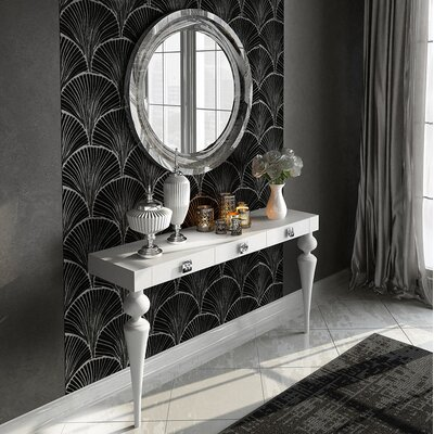 "Kondo Console Table and Mirror Set Size: 29.5"" H x 47"" W x 15.6"" D, Color: High Gloss"
