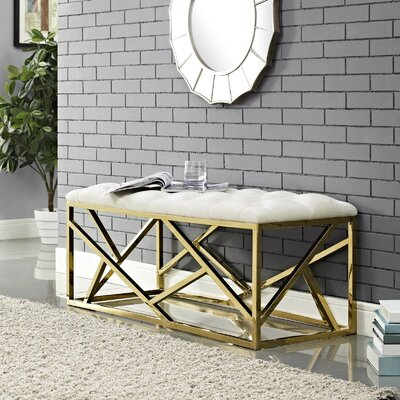 Colworth Metal and Metal Bench Upholstery: Ivory, Color: Gold
