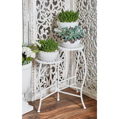 Chino Hills Modern Pierced Top Design Folding Plant Stand Color: White