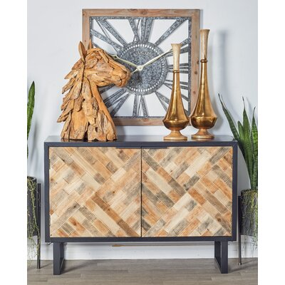 Cholet Modern Weave-Style 2 Door Accent Cabinet