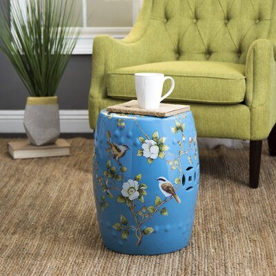 Critchlow Hand Painted Floral Garden Stool Color: Aqua