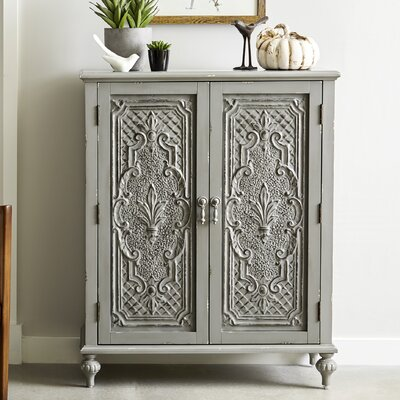 Wiest Ornate Front 2 Door Accent Cabinet Color: Gray