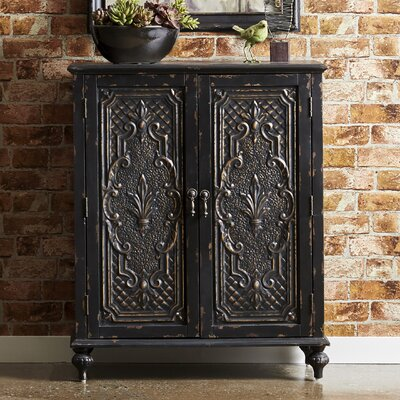 Wiest Ornate Front 2 Door Accent Cabinet Color: Black