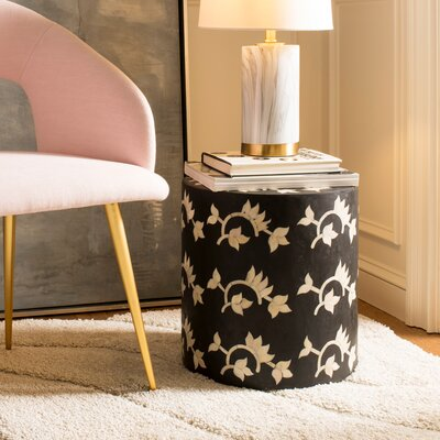 Barnard Bone Inlay Accent Stool Color: Black
