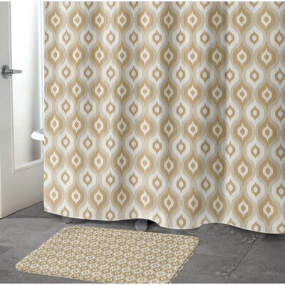 "Underhill Rectangle Memory Foam Bath Rug Size: 17"" W x 24"" L, Color: Tan/ Ivory/ Gold"