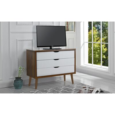 Walburg 3 Drawer Accent Chest Color: Brown/White