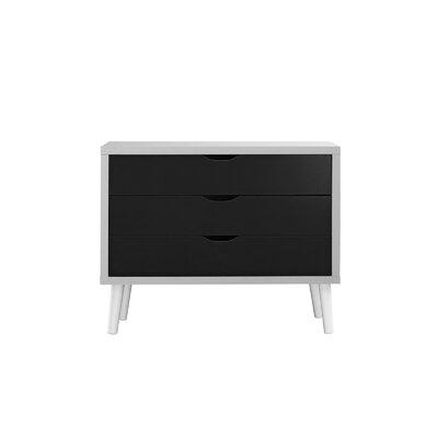 Walburg 3 Drawer Accent Chest Color: White/Dark Gray