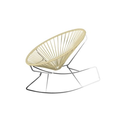Friar Rocking Chair Color: Ivory/Chrome