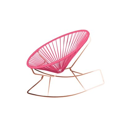 Friar Rocking Chair Color: Pink/Copper