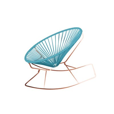 Friar Rocking Chair Color: Blue/Copper
