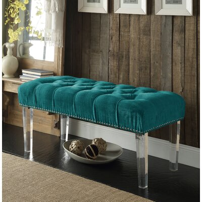 Macie Upholstered Bench Color: Turquoise
