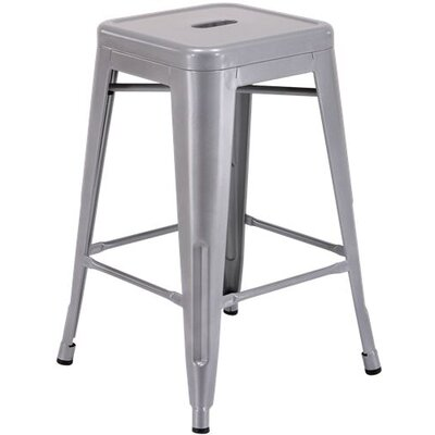 "Milone 24"" Bar Stool Color: silver"