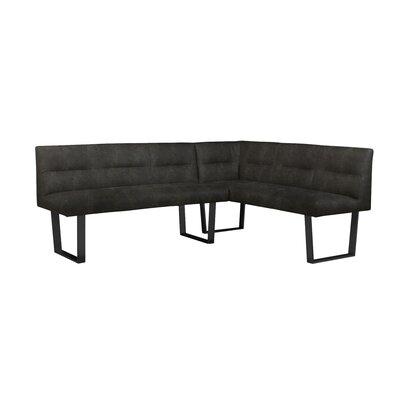 Altieri Upholstered Corner Bench Upholstery: Black