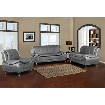 Sifford 3 Piece Living Room Set Upholstery: Gray