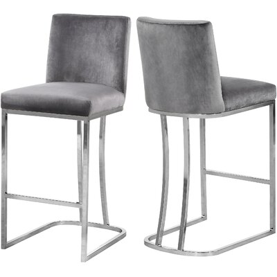 """Seppich 26"""" Bar Stool Upholstery Color: Gray, Finish: Silver"""
