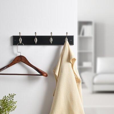 Hamm Wall Mounted Coat Rack Color: Black/Satin Nickel