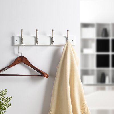 Hammondale Bevel Tipped Wall Mounted Coat Rack Color: White/Satin Nickel